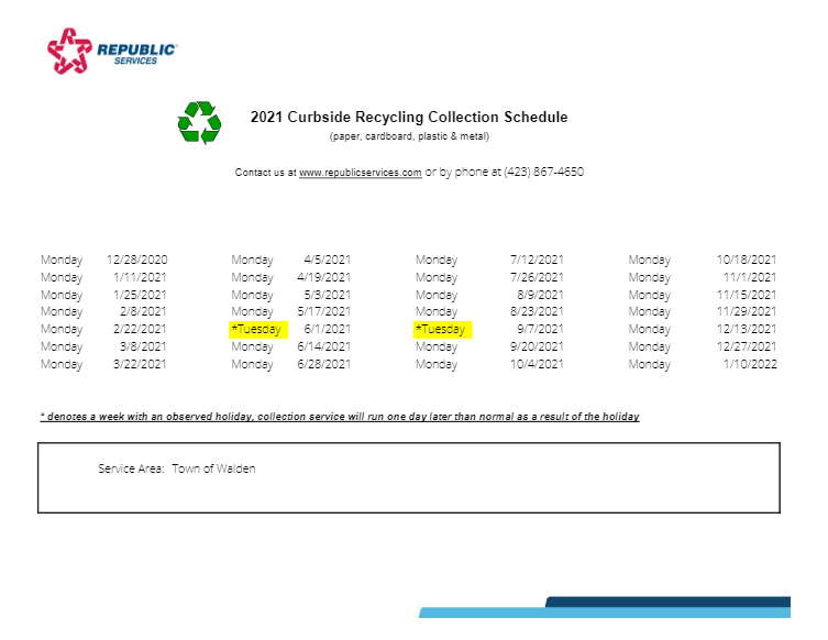 2021 collection schedule